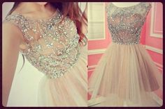 short sparkly blush pink dress.