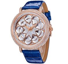 Cheap montre femme, Buy Quality montre women directly from China montre relogio Suppliers: Luxury Full SWA Crystal Floral Watches 45MM Big Size Women Dress Wrist watch Real Leather Shell Analog Relogio 3ATM Montre Femme