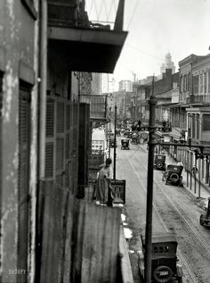 U.S. Balcony View, 500 Royal St, New Orleans, c, 1923 // by Arnold Genthe