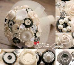 Bouquet nero e avorio realizzato con bottoni, roselline in raso e perle - www.trilliegingilli.com - (bouquet alternativi particolari originali stoffa carta bianco nero)