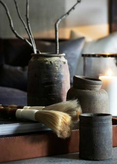 lovely calligraphy brushes and ink pots