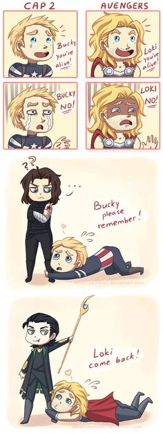 "Cap 2 vs. Avengers by Tenshi-no-Hikari on deviantART.  ""Those blonds with a dark hair complex."" =P"