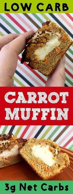 These low carb carrot muffins are filled with sweet cream cheese and taste just wonderful. Each muffin has only 3g net carb and is Keto, Atkins, Banting, THM-S, LCHF, Grain Free, Gluten Free and Sugar Free compliant. #resolutioneats #lowcarb #keto #carrot #muffin