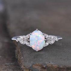 Opal Diamond Engagement Ring, Opal Wedding Rings, Dream Engagement Rings, Vintage Engagement Rings Opal, Engagement Rings Without Diamonds, Opal Promise Ring, Black Wedding Rings, Oval Engagement, Designer Engagement Rings