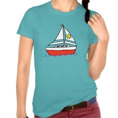 Sunny Sailboat T-shirts   Customizable & available on a variety of t-shirt colors #sailing #sailboat