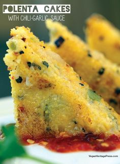 Polenta Cakes with Chili-Garlic Sauce from The Lusty Vegan by Ayinde Howell and Zoe Eisenberg is a delicious appetizer or snack to serve on date night. Whole Food Recipes, Mexican Food Recipes, Cooking Recipes, Vegan Appetizers, Appetizer Recipes, Polenta Appetizer, One Bite Appetizers, Fingers Food, Polenta Cakes