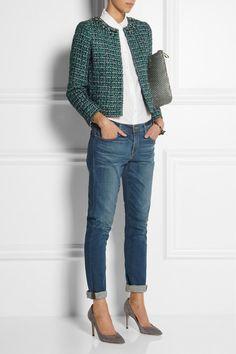 boyfriend jeans with a tweed jacket. Modern classic!