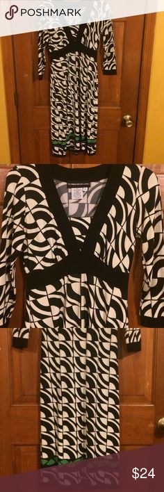 EUC, Very cute, Beautiful color & design, EUC, Very cute, Beautiful off white & Black, & trimmed in black , w/a touch of blue & green at bottom, very soft & comfy, this is our ready to go piece. Donna Morgan Dresses Midi