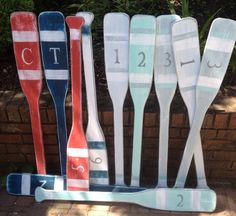 Oar Paddle Sign Wall Art With Numbers Letter Nautical Beach House Lake Cottage Decor by CastawaysHall