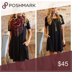 """Black A-line Dress with Pockets Black A-line Dress with Pockets   Available in size S(2-4), M(6-8), L(10-12).  93%  polyester 7% rayon    BUST: laying flat from armpit to armpit  S-18"""", M-19"""", L-20"""".                                       LENGTH: S-34"""", M-35"""", L-36"""".    Add to bundle to save. IR878243.7404P Infinity Raine Dresses"""