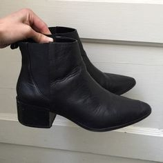 """Zara classic black leather booties Acne Jensen dupes.  In good condition.  Scuffing and scratches as photographed. 2"""" heel great for everyday wear! Zara Shoes Ankle Boots & Booties"""