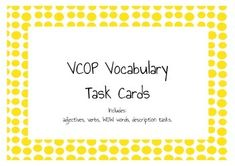 Here is 28 task cards relating to vocabulary development.  There are a variety of cards asking students to describe characters and things, making boring sentences, exciting and formulating sentences using nouns.   Please follow my store and rate my product!    Special thanks to Scrappin Doodles, Kevin & Amanda and From the pond! Special Education Teacher, Teacher Pay Teachers, Wow Words, Describing Characters, Teacher Newsletter, Task Cards, Sentences, Vocabulary, Middle School
