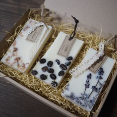 Use HAY from sheep to fill the boxes Lavender  Aroma wax sachet