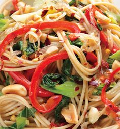 whole-wheat spaghetti, olive oil, shallot, ginger, baby bok choy, red bell pepper, vegetable stock or water, unsalted roasted peanuts(off the charts with heart healthy resveratrol), red pepper flakes to taste
