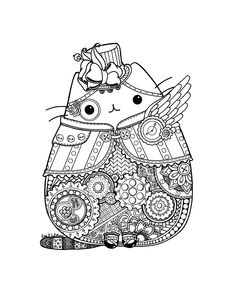 Sugar skulls and Pusheen. Day of the Dead Pusheen Fan Art Pusheen Coloring Pages, Cat Coloring Page, Halloween Coloring Pages, Animal Coloring Pages, Printable Coloring Pages, Coloring Pages For Kids, Coloring Books, Kids Coloring, Coloring Sheets