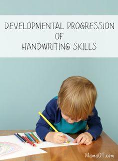 Developmental Progression of Handwriting Skills. Repinned by SOS Inc. Resources pinterest.com/sostherapy/.