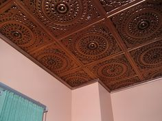 your kitchen cozier look (with Antique Copper Tin look ceiling tiles Copper Ceiling Tiles, Tin Tiles, Interior Decorating, Decorating Ideas, Interior Design, Room Lights, Diy Design, Design Ideas, Antique Copper