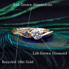Custom 100% Ethical Peacock Engagement Ring with Alexandrite by Emily Chelsea Jewelry