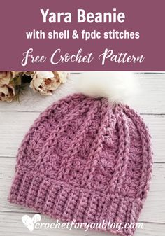 Crochet Yara Beanie Free Pattern - Crochet For You The texture of this beanie create using crochet shell and front post double crochet. This pattern also great for beginners to crochet . And has a simple and cozy look texture for winter and early spring. Crochet Adult Hat, Bonnet Crochet, Easy Crochet Hat, Crochet Simple, Crochet Hat For Women, Crochet Winter, Crochet Crafts, Double Crochet, Crochet Hooks