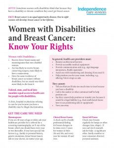 Get our free tip sheet: Women with Disabilities and Breast Cancer: Know Your Rights