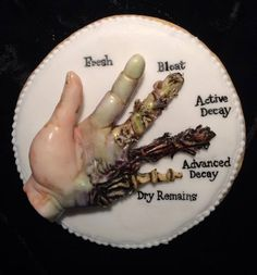 Five Stages(of decomposition) cookie by Claire Ratcliffe to be served at Delicious Decay: The Edible Body Farm. This event is meant to engage the public with delicious desserts alongside the fascinating topic of death