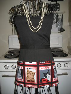 "Cat Rescue, Adopt Me,  Vendor Style Utility Half Apron L  13"" long"" x 26""wide SPECIAL ORDER by Tammysaprons on Etsy"