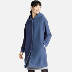 WOMEN SOFT WOOL BLEND HOODED COAT, BLUE