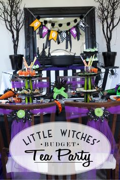 Sweet Little Witches Tea Party on a Budget by my fab friend @frogprincepaper love this and all the adorable little details and personal touches! Tea Party Birthday, Halloween Birthday, Holidays Halloween, Happy Halloween, Spooky Halloween, Halloween Labels, Vintage Halloween, Halloween Pumpkins, 4th Birthday