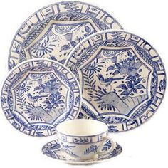 """Oiseau Bleu"" china by Gien, designed by Isabelle de Borchgrave"