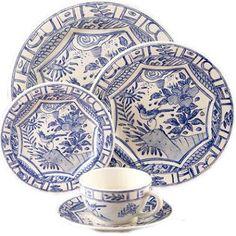 """""""Oiseau Bleu"""" china by Gien, designed by Isabelle de Borchgrave"""