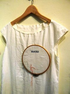 Monika Brugger - broche   cotton shirt, thread, embroidery hoop *heather s. nuber