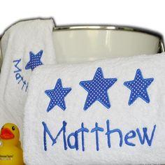 Big Stars for Little Boys Personalised Towel Set Keepsake Baby Gifts, Baby Gift Box, Baby Boy Gifts, Bath Towel Sets, Bath Towels, Boy Bath, Personalized Towels, Star Designs, Big Star