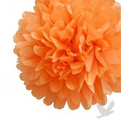 "14"" Orange Tissue Paper Pom Poms BULK"