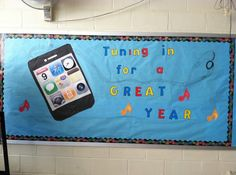 """Having trouble relating to your students in the modern technological world of today? In this kit, comes large printable iPod icons and the print out for """"Tuning in for a great year!"""" Along with a sample picture of the finished product. August Bulletin Boards, Counseling Bulletin Boards, Teacher Bulletin Boards, Library Bulletin Boards, Back To School Bulletin Boards, Library Wall, School Counselor, School Teacher, Diy Projects"""