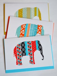 A little elephant - his silhouette is created from various patterns and colours of washi tape (printed Japanese masking tape with a rice-paper-like