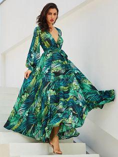 Chiffon Maxi Dress Long Sleeve V Neck Tropical Dress Leaf Print Fall Dress Maxi Dress Summer, Chiffon Maxi Dress, White Maxi Dresses, Maxi Dress With Sleeves, Women's Dresses, Casual Dresses, Summer Dresses, Dresses Online, Dress Long