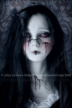 The Broken Doll SFX makeup idea / Pairs nicely with some light-blue vampire contacts with black limbal ring=> http://www.pinterest.com/pin/350717889705825869/