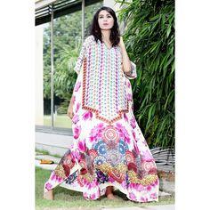 Silk kaftan Kaftan Gown, Silk Kaftan, Two Piece Dress, Designer Collection, Geometric Shapes, One Size Fits All, Cover Up, Vogue, Fancy