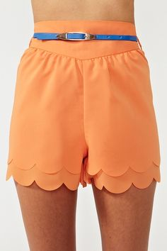 tangerine scalloped shorts