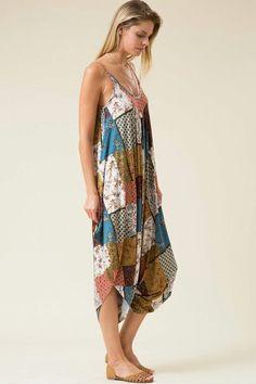 dfa9bcdb900 Slightly below knee length spaghetti strap patchwork print harem jumpsuit.  95% RAYON 5%