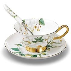 TouchLife Bone China Tea Cup Coffee Cup Set with Saucer and Spoon,Camellia, White and Green,With Gift Box