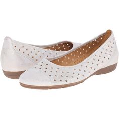 Gabor Gabor 44.169 (Puder Caruso Metallic) Women's Flat Shoes (145 BAM) ❤ liked on Polyvore featuring shoes, flats, white, white slip on shoes, white flats, platform slip on shoes, gabor shoes and metallic shoes
