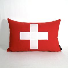 Switzerland Flag Pillow Cover - Outdoor Cushion - Decorative Red White - Swiss White Cross - World Cup - Sunbrella 12 X 18 inch via Etsy