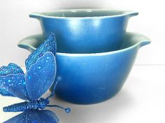 Rare Blue Mixing Bowls Cinderella Nesting Bowls by Fire King Anchor Hocking by ChaseyblueVintage on Etsy https://www.etsy.com/listing/206877088/rare-blue-mixing-bowls-cinderella