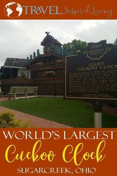 The World's Largest Cuckoo Clock in Sugarcreek Ohio.  Whether you are traveling to or through Sugarcreek, a visit to this fun attraction your family will love to say they visited on their trip #Sugarcreek #Ohio #trips #CuckooClocks #Ohiotravel
