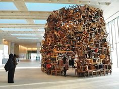 A 20-Foot-High Pavilion Made Entirely Of Stacked Chairs