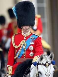 While Prince William rode on horseback for the event Trooping the Colour 15 June 2014