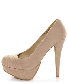 Bamboo Ericka 04 Nude Suede Ruched Platform Heels