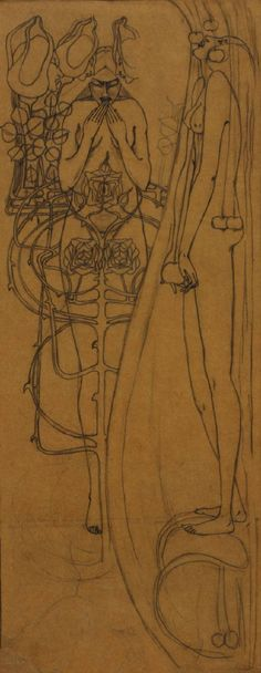 """Pencil Study for """"Autumn""""  by Frances Macdonald, c.1895-9~Image  © The Hunterian Museum and Art Gallery"""