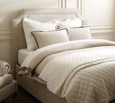 Storage Bed. Ardley Upholstered Full Headboard, Polyester Wrapped Cushions, Twill Metal Gray